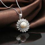 925 순은 목걸이 절묘한 꽃 패턴 자연적인 민물 진주 펜던트 목걸이
