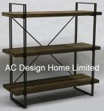 3 Reihe-antikes Weinlese-dekoratives hölzernes/Metallwohnzimmer-Regal