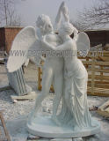 石造りの彫像の庭の装飾(SY-X1350)のための大理石の切り分ける彫刻の天使