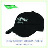 Chapeau de sport de base-ball de broderie de noir de bord de peau