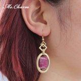 Boucles d'oreille géométriques de Rhinestone de rouge de vin de boucles d'oreille