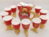 12 Zodiac copos de vinho tinto, cerâmica, Presente de Ano Novo