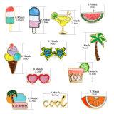 Brooches alaranjados dos óculos de sol da árvore de coco do suco de fruta da melancia do gelado