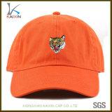 Baseball non strutturato del cappello del papà dei 6 comitati ricamato tigre su ordinazione