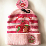 OEM Produce Custom Cartoon Applique Bordado Rosa Inverno Snowboard Wool Beanie Hat