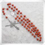 Il legno borda il rosario fatto nell'elemento religioso della collana della Cina (IO-cr252)