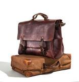 Design exclusivo de grande capacidade de cabedal castanho avermelhado carteiro Bag para homens