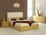 Деревянное Bed с Leather Bed Head для спальни Furniture (SZ-BF145)