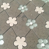 아름다운 브라운 석회화 사방형 혼합 유리제 돌 소형 꽃 Waterjet 대리석 모자이크 타일
