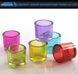 Suporte de vela de vidro colorido Home romântico do castiçal do copo