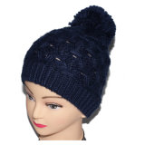 Cappello lavorato a maglia Beanie caldo all'ingrosso di inverno POM POM del Crochet del blu marino