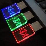 4GB 8GB 16GB 32GB 64 GB kundenspezifisches geprägtes 3D bunt gravieren Kristallblitz USB des Firmenzeichen USB-Laufwerk-LED