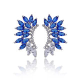 Blaue Edelstein-Fantasie-Entwurfs-Dame Statement Brass Earring