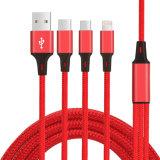 C3570 Nylon Braided 3 в 1 быстром поручая кабеле данным по кабеля USB кабеля телефона