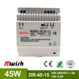 Wechselstrom 45W zu Gleichstrom 100-240VAC zu Cer RoHS ERP ISO9001 der 15VDC 2.8A LÄRM Schienen-Schalter-Stromversorgungen-Dr-45-15