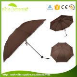 Paraguas publicitario abierto de 3 dobleces del manual negro para la promoción