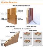 Portello composito di legno classico di colore scuro con il buco di sicurezza
