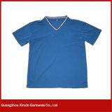 Camiseta que hace punto 100% de Jersey de las fundas del algodón corto suave de Crewneck (R138)