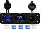 4.2A及び12Vアウトレットの電力ソケット青いLED 3の穴のパネルまでの三重機能LED車のデジタルボルトメータ及び二重USB車の充電器5Vは帽子を防水する