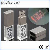 Transparentes Kristall USB-Blitz-Laufwerk mit LED-hellem Firmenzeichen (XH-USB-089)