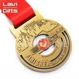 Canoë fait sur commande bon marché de sport de récompense en métal 3D emballant la médaille
