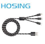 cabo cobrando do USB 3-in-1, cabo de dados trançado de nylon da cabeça do metal