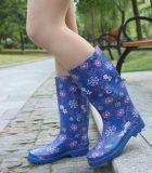 女性の印刷のゴム製雨靴、女性ゴム長、雨靴