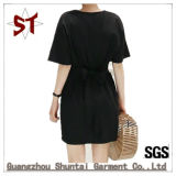 Robe en gros de Madame Casual Black T-Shirt Straight avec la courroie