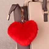 Belo em forma de coração o anel da chave de peles com pêlo falso Charme Saco Faux POM POM por saco
