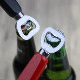 Metal branco personalizadas de madeira em aço inoxidável abridor de garrafas de cerveja