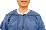 En PP blanc personnalisé blouse de laboratoire non tissés jetables, élastique et étoffes de bonneterie brassard
