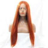 Dlme 부드럽게 매끄러운 주황색 똑바른 합성 머리 가발