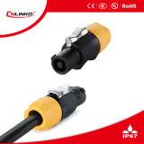 Die 3 Pin-genehmigte männlicher Kontaktbuchse-Leistungsverstärker-Verbinder mit UL