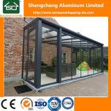 Vidrio exterior pérgola con estructura de aluminio y techos de policarbonato transparente