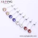 Zafiro Xuping simples diseños brillantes aretes de oro para las mujeres de los cristales de Swarovski