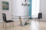 De hete Hoogste Eettafel van het Glas van de Verkoop Nieuwe Ontwerp Aangemaakte met V-vormige Basis