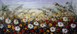 Multi-Zwecke purpurrote Blumen-Bereich-Ölgemälde-Segeltuch-Wand-Kunst für Hauptdekoration