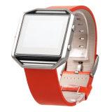Bracelete de couro genuíno da banda de relógio de pulso, com estrutura metálica protetora da banda de moda para Fitbit Blaze