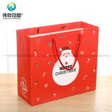 ループハンドルが付いている包装のクリスマスのギフトのための2017の習慣のクリスマスのクラフト紙袋