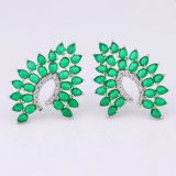 녹색 원석 순수한 은에 의하여 도금되는 매력 보석 고급장교 귀걸이