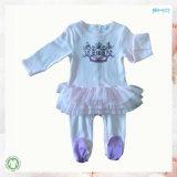 Bkdの100%年の綿の円形の首の幼児の衣類の女の赤ちゃんのロンパース