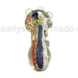 De blauwe Fonkeling kleurde Pijp van de Lepel van het Glas van de Omslag & van de Regenboog de Dubbele Spiraalvormige (S-PK-253)