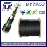 Dirigir o aço frouxo encalhado GYTA53 de fibra óptica enterrado da câmara de ar do cabo blindado