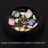크리스마스는 새로운 훈장 (NA07) 교차하는 원석 원형 3D 못 예술 반짝임에 의하여 보석함 결정 못 도착하는 다이아몬드 모조 다이아몬드 소형 구슬을 섞었다