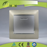 Ce/TUV/BV certificó la norma europea de zinc metal 1pista con LED Interruptor de pared de la plata