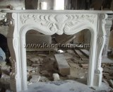Lareira de pedra mármore branco natural Mantel Decoração Lareira Surround
