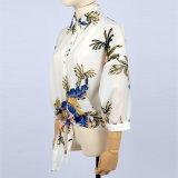 Neue Chiffon- Form-Blumen druckten Frauen-Blusen-lange Hülsen-Hemden