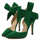 De Schoenen van de Hoge Vrouwen van de Hiel van het Suède van Pointy met Grote Bowknot Sandals