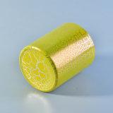 De Houders van de Kaars van het Glas van de cilinder 390ml met de Gele Decoratie van de Lak van de Barst