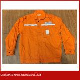 Chaqueta de trabajo azul anaranjada del paño grueso y suave de la seguridad con la venda reflexiva para el invierno (W62)